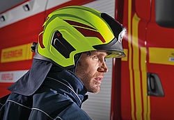 Firefighting helmet HEROS-smart interior fittings - Rosenbauer firefighting helmet HEROS-smart with neck protector - Rosenbauer firefighting helmet HEROS-smart size adjustment - Rosenbauer