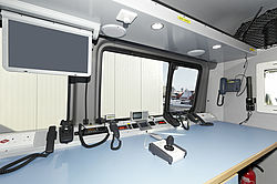 Command vehicle ELW inside - Rosenbauer