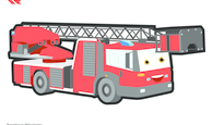 Paint template colored aerial ladder
