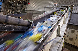 Waste sorting plant fire protection conveyor belt - Rosenbauer