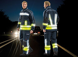 Fire safety clothing with reflective stripes - Rosenbauer