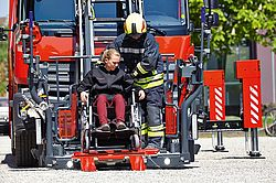 Rosenbauer rescue cage with wheelchair accommodation