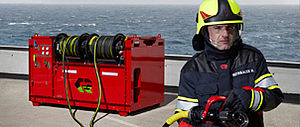 Container fire suppression in use - Rosenbauer