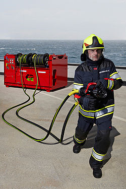 Offshore fire extinguishing system in operation - Rosenbauer