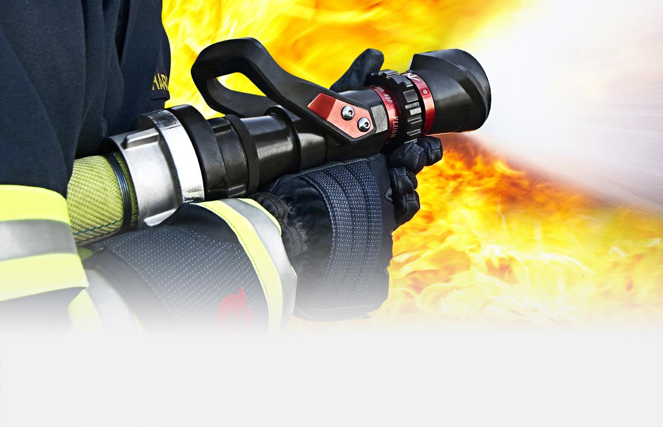 Fire hose nozzles fighting monitors